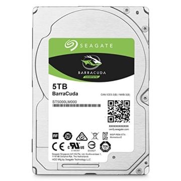 Seagate BarraCuda 5 TB, ST5000LM000, interne Festplatte, 15mm,6,4 cm (2,5 Zoll), 128MB Cache, SATA 6 Gb/s schwarz -