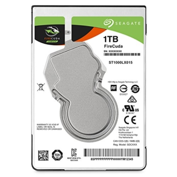 Seagate FireCuda 1 TB, ST1000LX015, interne Hybrid Festplatte SSHD, 6,4 cm (2,5 Zoll), 64 MB Cache, SATA 6Gb/s schwarz -