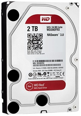 WD Red 2TB interne Festplatte SATA 6Gb/s 64MB interner Speicher (Cache) 8,9 cm 3,5 Zoll 24x7 5400Rpm optimiert für SOHO NAS Systeme 1-8 Bay HDD Bulk WD20EFRX -