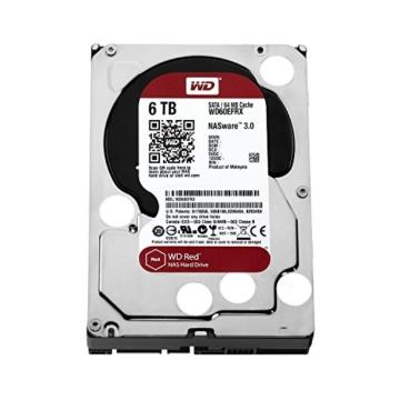 WD Red 6TB interne Festplatte SATA 6Gb/s 64MB interner Speicher (Cache) 8,9 cm 3,5 Zoll 24x7 5400Rpm optimiert für SOHO NAS Systeme 1-8 Bay HDD Bulk WD60EFRX -
